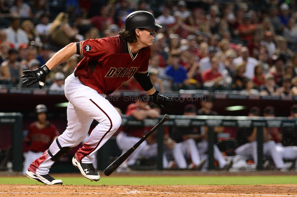 PHOENIX, AZ - JUNE 12:  Peter O'Brien #14 of the Arizona Diamondbacks grounds out to short stop in the fourth inning of the game against the Miami Marlins at Chase Field on June 12, 2016 in Phoenix, Arizona. The Arizona Diamondbacks defeated the Miami Marlins 6-0. (Photo by Jennifer Stewart/Getty Images)