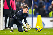 Chelsea goalkeeper Kepa Arrizabalaga (1) warms up during the Premier League match between Chelsea and Arsenal at Stamford Bridge, London, England on 21 January 2020.
