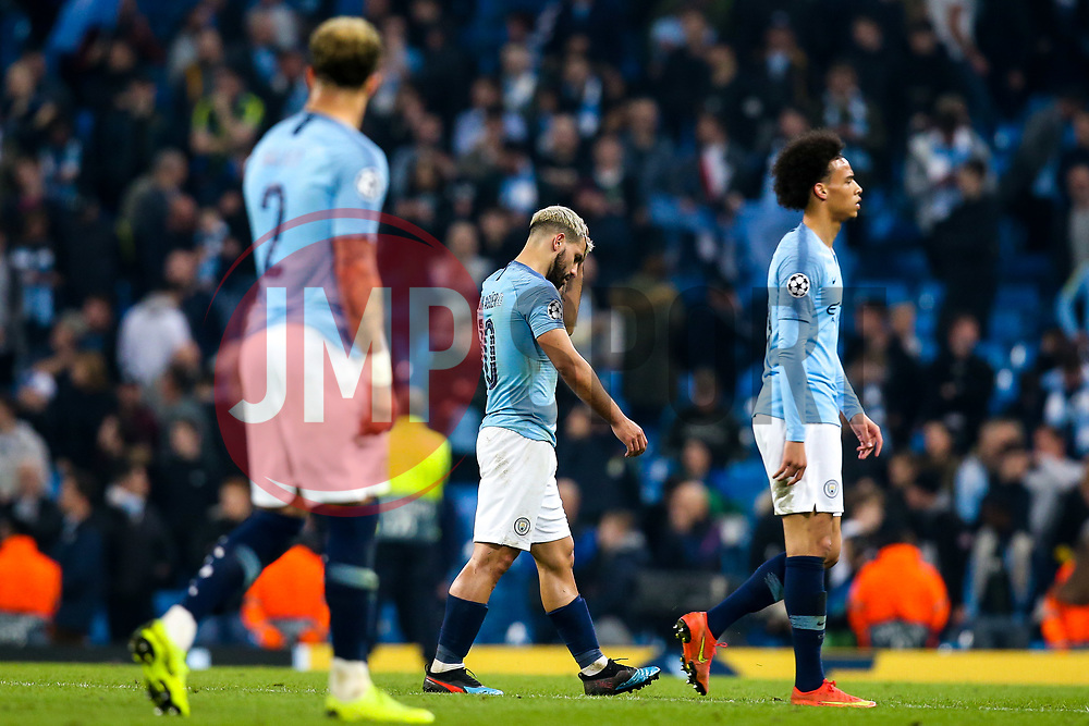 Sergio Aguero of Manchester City and teammates cut dejected figures after defeat to Tottenham Hotspur - Mandatory by-line: Robbie Stephenson/JMP - 17/04/2019 - FOOTBALL - Etihad Stadium - Manchester, England - Manchester City v Tottenham Hotspur - UEFA Champions League Quarter Final 2nd Leg