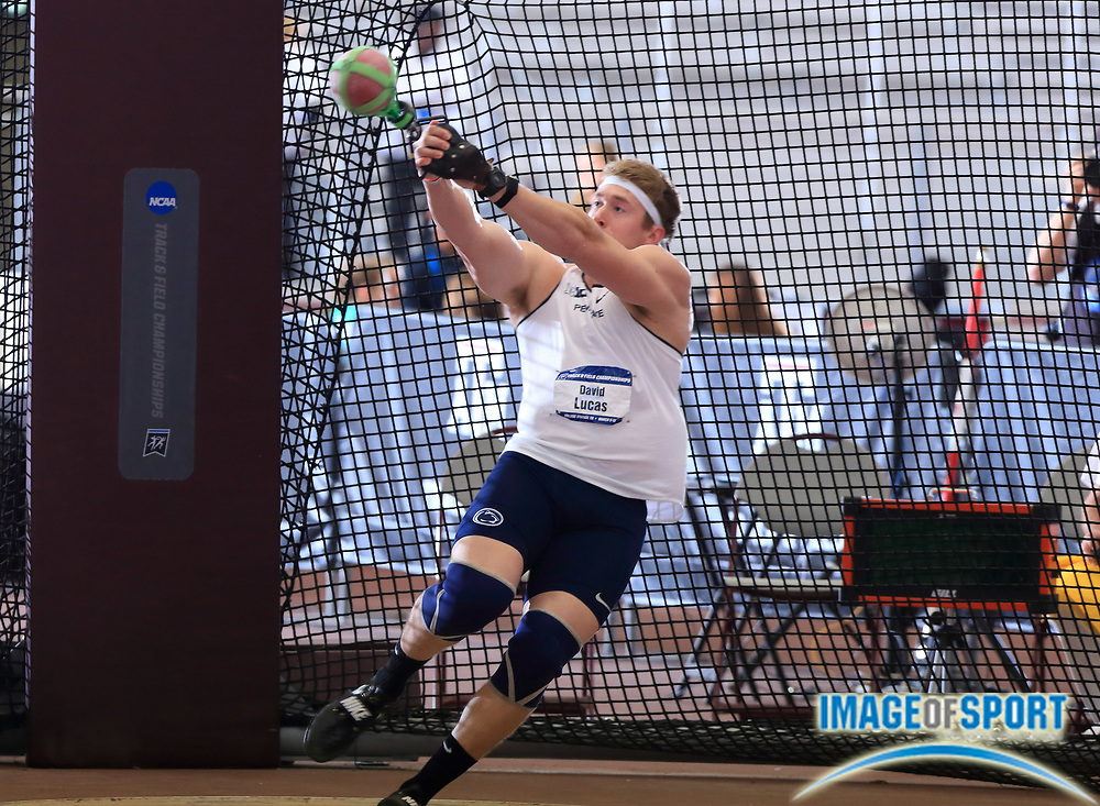 Mar 10, 2018; College Station, TX, USA; David Lucas of Penn State wins the weight throw at 78-9 1/4  (24.02m) during the NCAA Indoor Track and Field Championships at the McFerrin Athletic Center.