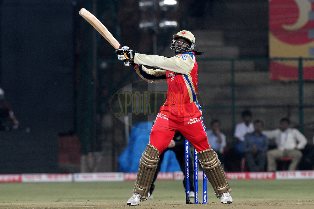 Chris Gayle of Royal Challengers Bangalore bats during match 1 of the NOKIA Champions League T20 ( CLT20 )between the Royal Challengers Bangalore and the Warriors held at the  M.Chinnaswamy Stadium in Bangalore , Karnataka, India on the 23rd September 2011..Photo by Pal Pillai/BCCI/SPORTZPICS