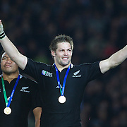 All Blacks captain Richie McCaw with his winners medal after the New Zealand V France Final at the IRB Rugby World Cup tournament, Eden Park, Auckland, New Zealand. 23rd October 2011. Photo Tim Clayton...