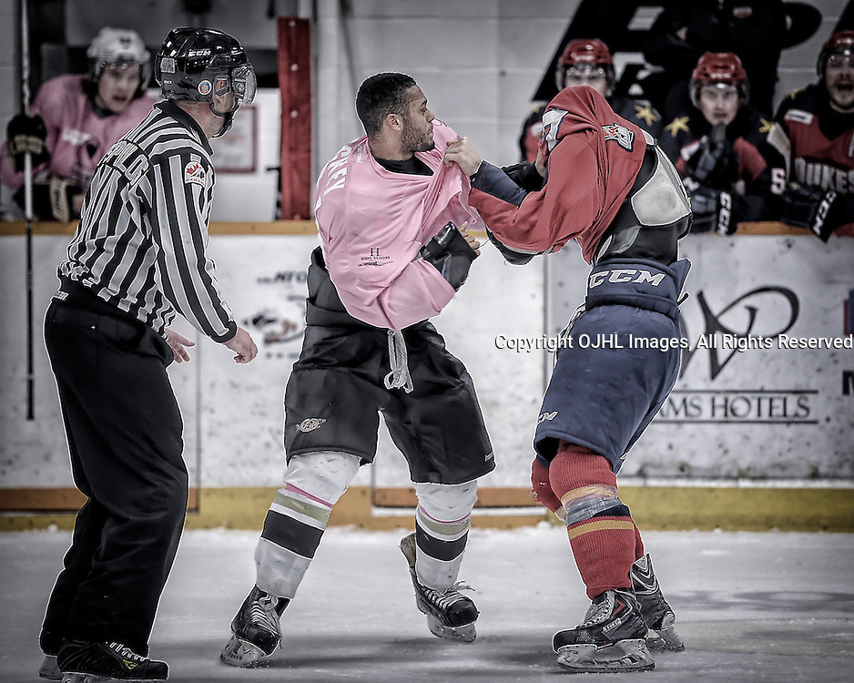 TRENTON, ON - Feb 14 : Ontario Junior Hockey League game action between the Trenton Golden Hawks and the Wellington Dukes, Shaquille Hickey #51 of the Trenton Golden Hawks Hockey Club and Maurizio Colella #27 of the Wellington Dukes Hockey Club get into an altercation.<br /> (Photo by Amy Deroche / OJHL Images)
