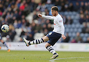 Preston North End Striker Joe Garner (14) during the Sky Bet Championship match between Preston North End and Brighton and Hove Albion at Deepdale, Preston, England on 5 March 2016.