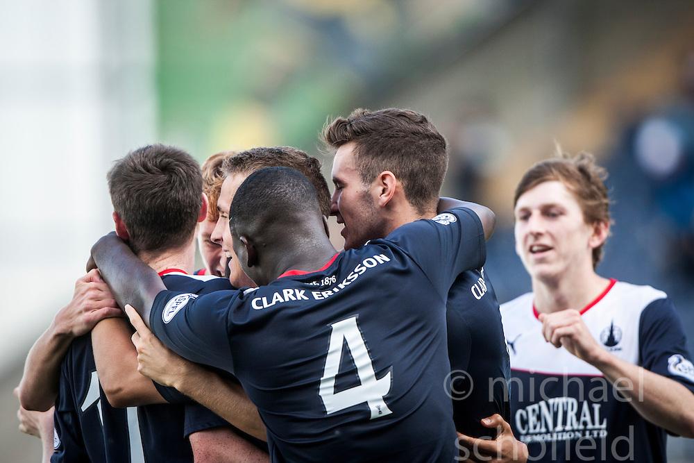 Falkirk's Phil Roberts (hidden) celebrates with team mates after scoring their third goal.<br /> Falkirk 3 v 1 Morton, Scottish Championship 17/8/2013.<br /> &copy;Michael Schofield.