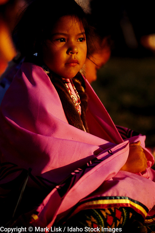 THIS PHOTO IS AVAILABLE FOR WEB DOWNLOAD ONLY. PLEASE CONTACT US FOR A LARGER PHOTO. Native American Indian child wrapped in pink blanket.  MR