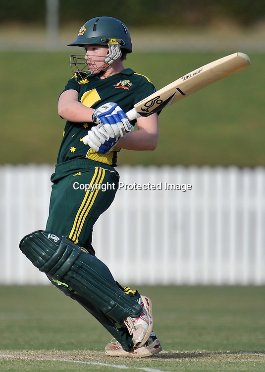 Jessica Cameron follows through while batting in Game 6 (ODI) of the Rose Bowl Trophy Cricket played between Australia and New Zealand at Alan Border Field in Brisbane (Australia) ~ Monday 14May 2011 ~ Photo : Steven Hight (AURA Images) / Photosport