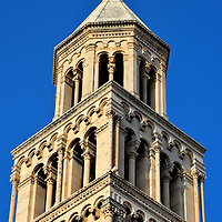 Bell Tower Close Up Next to Cathedral of Saint Domnius in Split, Croatia<br />