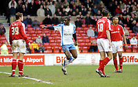 Photo: Leigh Quinnell.<br /> Nottingham Forest v Swindon Town. Coca Cola League 1. 25/02/2006. Swindons Trevor Benjamin points out where the goal is after scoring Swindons only goal.