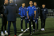 Michael Kelly, Ed Upson and Tom Nichols before the The FA Cup match between Bromley and Bristol Rovers at the Westminster Waste Stadium, Bromley, United Kingdom on 19 November 2019.