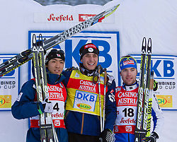 17.12.2011, Casino Arena, Seefeld, AUT, FIS Nordische Kombination, Langauf 10 km, im Bild Akito Watabe (JPN, 2. Platz) // Akito Watabe of Japan second place, Janson Lamy Chappuis (FRA, 1. Platz) // Janson Lamy Chappuis of France first place, Alessandro Pittin (ITA, 3. Platz) // Alessandro Pittin of Italy  thirt place during the cross-country skiing 10 km at FIS Nordic Combined World Cup in Sefeld, Austria on 20111211. EXPA Pictures © 2011, PhotoCredit: EXPA/ P.Rinderer