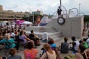 """A member of the Annex Theatre performs a """"10 Minute Play"""" during Artscape in Baltimore, MD on Saturday, July 20, 2013."""