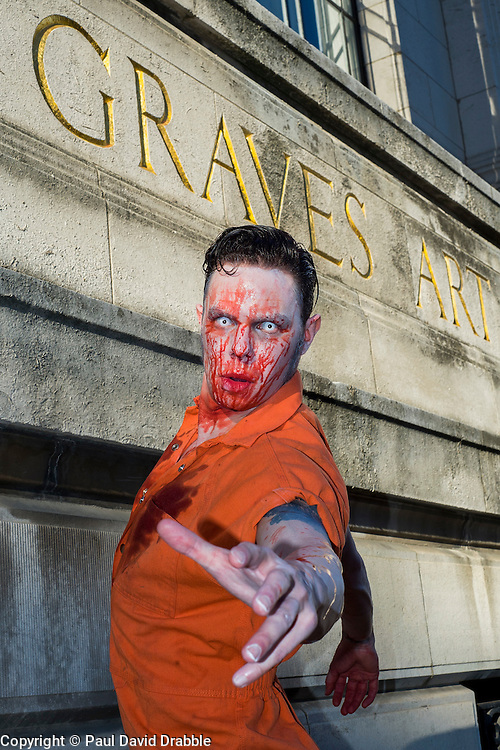 Slingshots Top Zomboss Alex Noble, outside Graves Art Gallery in Sheffield on Tuesday evening ahead of the game 2.8 Hours Later which reaches the city in August <br /> <br /> 30 June 2015<br />  Image © Paul David Drabble <br />  www.pauldaviddrabble.co.uk