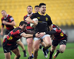 Wellington's Jackson Garden-Bachop, centre, against Canterbury in the Mitre 10 Rugby match at Westpac Stadium, Wellington, New Zealand, Sunday September 17,, 2017. Credit:SNPA / Ross Setford  **NO ARCHIVING**