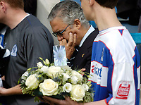 Photo: Leigh Quinnell.<br /> Queens Park Rangers v Southampton. Coca Cola Championship. 01/09/2007. QPR chairman Gianni Paladini pauses to remember player Ray Jones who died in a car crash.