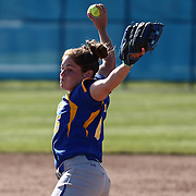 Hofstra University Pitcher Courtney Scarpato (16) throws a pitch during a Colonial Athletic Association regular season softball game between Delaware and Hofstra Saturday, April 16, 2016, at Delaware softball stadium in Newark, Delaware.