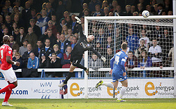 Peterborough United's Robert Olejnik cant prevent Crewe Alexandra's Chuks Aneke from scoring the opening goal of the game - Photo mandatory by-line: Joe Dent/JMP - Mobile: 07966 386802 08/03/2014 - SPORT - FOOTBALL - Peterborough - London Road Stadium - Peterborough United v Crewe - Sky Bet League One