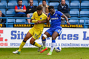 Bristol Rovers defender Jake Clarke-Salter (36) and Gillingham defender Adedeji Oshilaja (6) during the EFL Sky Bet League 1 match between Gillingham and Bristol Rovers at the MEMS Priestfield Stadium, Gillingham, England on 14 April 2017. Photo by Martin Cole.