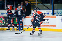 KELOWNA, CANADA - FEBRUARY 6: Quinn Banjafield #22 of Kamloops Blazers warms up against the Kelowna Rockets on February 6, 2015 at Prospera Place in Kelowna, British Columbia, Canada.  (Photo by Marissa Baecker/Shoot the Breeze)  *** Local Caption *** Quinn Banjafield;
