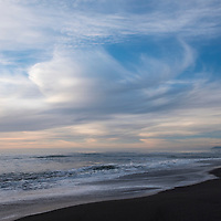 Sunset on Gold Bluffs Beach and the Pacific Ocean at Prairie Creek Redwoods State Park in Humboldt County, California, USA