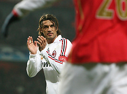 LONDON, ENGLAND - Wednesday, February 20, 2008 : AC Milan's Paulo Maldini encourages his team mates against Arsenal during the UEFA Champions 1st Knockout Round, 1st Leg match at The Emirates Stadium. (Photo by Chris Ratcliffe/Propaganda)