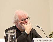 Life Before Debt Conference - Debt & Morality: When is it okay not to pay? Opening plenary at SOAS, University of London, London, United Kingdom. Saturday, 29th March 2014. Former Archbishop of Canterbury Rowan Williams, now Anglican bishop, poet and theologian discussing Debt, Ethics and Morality during the conference also on the panel : Njoki Njoroge Njehu - Daughters of Mumbi, Kenya; Andrew Ross - Strike Debt & author of Creditocracy and Sarah-Jayne Clifton Jubilee Debt Campaign Picture by Elliott Franks