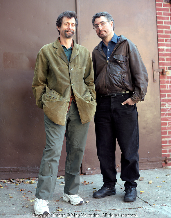 Poets Dennis Nurkse and Hal Sirowitz, former poets laureate of Brooklyn and Queens, respectively.