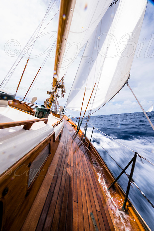Sailing aboard Saphaedra in the Antigua Classic Yacht Regatta, Cannon Race.