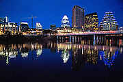 The city of Austin skyline as viewed across Lady Bird Lake in Austin Texas, December 30, 2008.