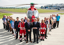 Pictured:  Mr Swinney; David Craig SCAA Chief Executive, pilot Ric Stell and the volunteers<br /> Deputy First Minister and local MSP  John Swinney visited Perth Airport today to visit Scotland's Charity Air Ambulance. The Perthshire North MSP will meet volunteers and present certificates to mark the start of National Volunteers' Week.<br /> <br /> <br /> Ger Harley | EEm 1 June 2018