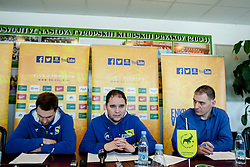 Luka Zvizej and Branko Tamse, head coach of RK Celje Pivovarna Lasko at press conference of RK Celje Pivovarna Lasko on Februar 13, 2014 in Arena Zlatorog, Celje, Slovenia. Photo by Urban Urbanc / Sportida.com