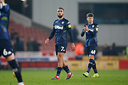 Disappointed Leeds United midfielder Kemar Roofe (7)  at full time during the EFL Sky Bet Championship match between Stoke City and Leeds United at the Bet365 Stadium, Stoke-on-Trent, England on 19 January 2019.