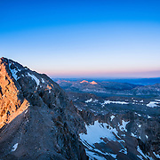 Sunrise from Grand Teton looking at Mount Owen and it's shadow off in the horizon