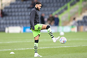 Forest Green Rovers Dominic Bernard(3) warming up during the EFL Sky Bet League 2 match between Forest Green Rovers and Scunthorpe United at the New Lawn, Forest Green, United Kingdom on 7 December 2019.