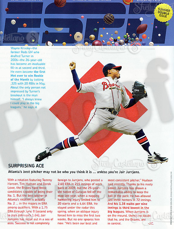 June 27, 2011 Tearsheet of MLB Atlanta Braves pitcher Jair Jurrjens with 2.60 ERA in 215 innings in ESPN The Magazine.   Photo by Shelly Castellano for ICON SMI