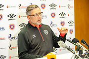 Craig Levein during the Heart of Midlothian pre match press conference ahead of the away match against Motherwell, at Oriam Sports Performance Centre, Riccarton, Scotland on 13 September 2018.
