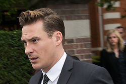 Blue Star Lee Ryan arrives at Ealing Magistrates Court. The Blue Star and celebrity Big Brother contestant Lee Ryan arrives at Ealing Magistrates Court, Ealing, United Kingdom. Friday, 2nd May 2014. Picture by Daniel Leal-Olivas / i-Images