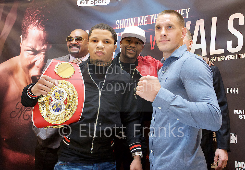 Floyd Mayweather Jr &amp; Frank Warren press conference at The Savoy Hotel, London, Great Britain <br /> 7th March 2017 <br /> <br /> <br /> Liam Walsh <br /> (a British professional boxer and the current Commonwealth super featherweight champion)<br /> <br /> Floyd Joy Mayweather Jr. is an American former professional boxer who competed from 1996 to 2015 and currently works as a boxing promoter. <br /> <br /> Gervonta Davis <br /> (an American professional boxer who has held the IBF junior lightweight title since January 2017)<br /> <br /> <br /> <br /> Photograph by Elliott Franks <br /> Image licensed to Elliott Franks Photography Services