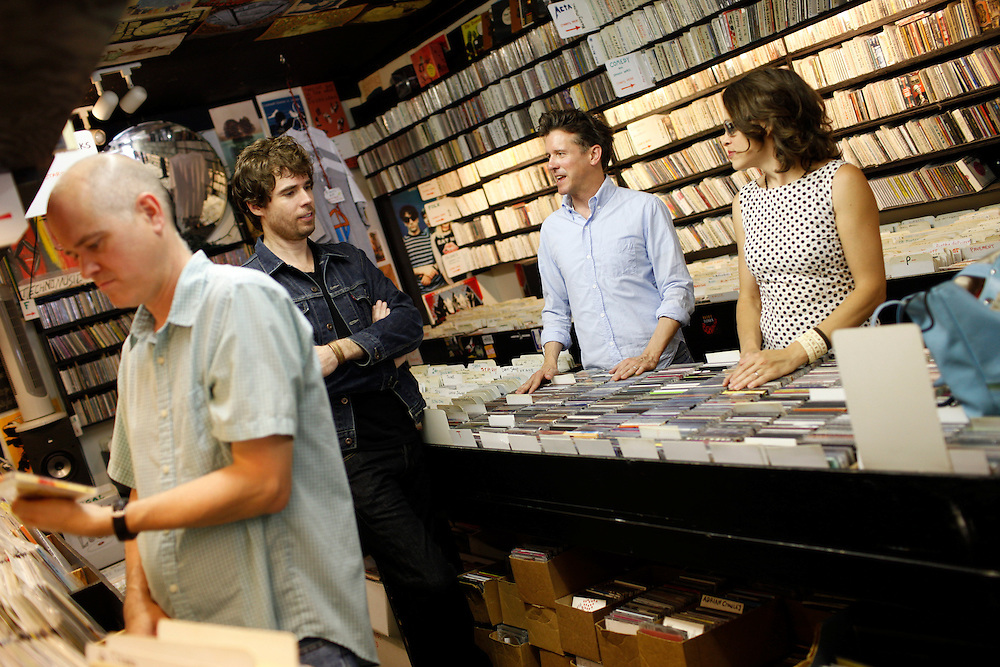 Superchunk; Jim Wilbur, Jon Wurster, Laura Ballance,   and Mac McCaughan at CD Alley in Chapel Hill, N.C.