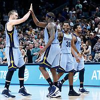 04 April 2017: Memphis Grizzlies center Marc Gasol (33) is congratulated by Memphis Grizzlies forward Zach Randolph (50) during the San Antonio Spurs 95-89 OT victory over the Memphis Grizzlies, at the AT&T Center, San Antonio, Texas, USA.