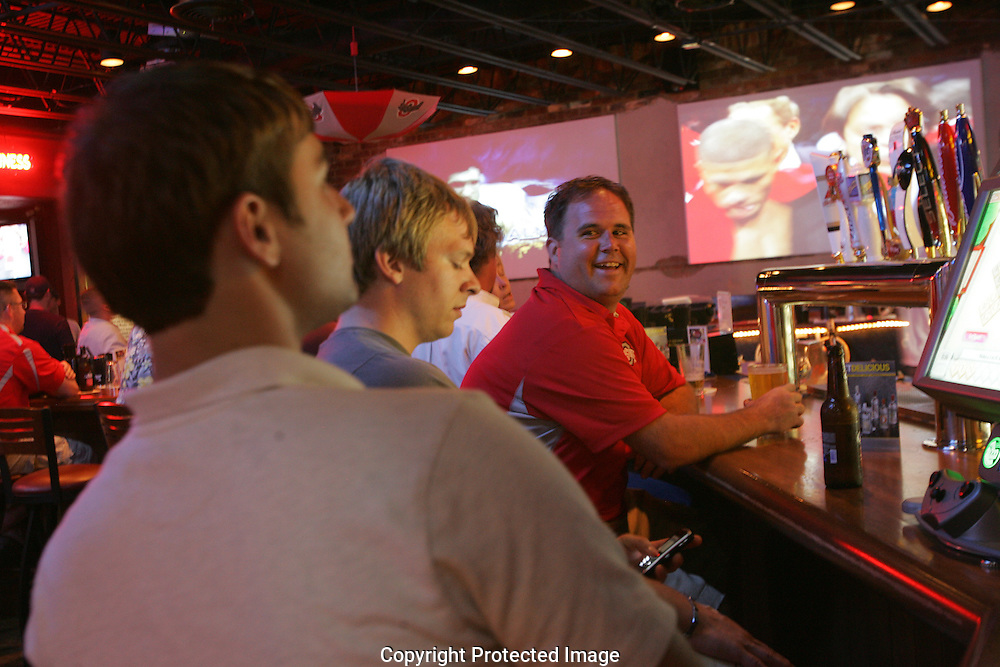 Patrons wait for the next fight to begin at Brewsky's Sports Bar located at 5410 Kenny Rd.