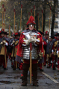 Pikemen before the Lord Mayor's Show in the City of London, the capital's ancient financial district founded by the Romans in the 1st Century. This is the pageant's 800th birthday and the 250 year-old horse-drawn guided State Coach will be pulled through the medieval streets with the newly-elected Mayor along with 7,000 others. This first took place in 1215 making it the oldest and longest civil procession in the world which survived both Bubonic plague and the Blitz.