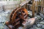 wooden Waterwheel model photographed in Austria, Tyrol  Zillertal forest near Mayrhofen