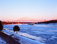 Cape Cod Canal and Sagamore Bridge in Winter