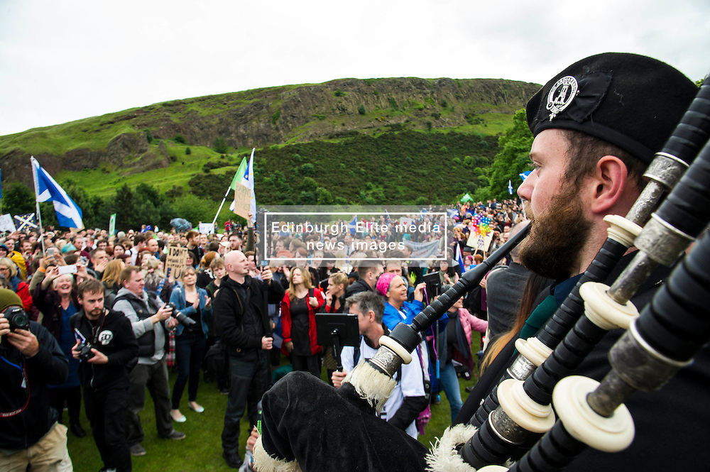 Pictured: <br /> Thousands of people gathered outside the Scottish Parliament to demonstrate for Scotland to remain part of EU. Young and old gathered in support of the European Movement Edinburgh  whoorganised the event inthe wake of the vote to leave<br /> <br /> <br /> Ger Harley | EEm 29 June 2016
