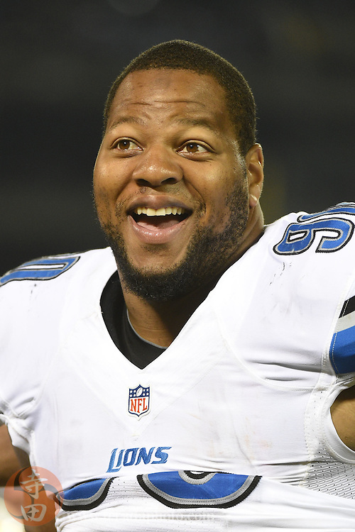 August 15, 2014; Oakland, CA, USA; Detroit Lions defensive tackle Ndamukong Suh (90) smiles during the third quarter against the Oakland Raiders at O.co Coliseum.