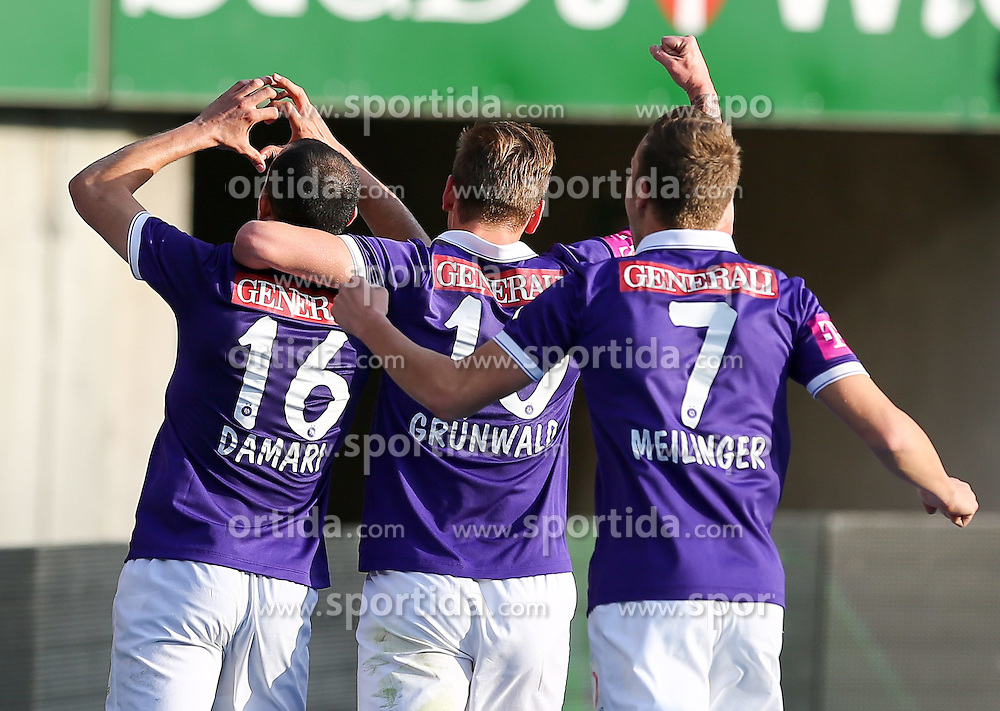 09.11.2014, Ernst Happel Stadion, Wien, AUT, 1. FBL, SK Rapid Wien vs FK Austria Wien, 15. Runde, im Bild Omar Damari (FK Austria Wien) , Alexander Gruenwald (FK Austria Wien) und Marco Meilinger (FK Austria Wien) // during a Austrian Football Bundesliga Match, 15th Round, between SK Rapid Vienna and FK Austria Vienna at the Ernst Happel Stadion, Wien, Austria on 2014/11/09. EXPA Pictures © 2014, PhotoCredit: EXPA/ Alexander Forst