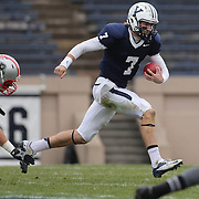 Quarterback, Henry Furman, Yale, in action during the Yale V Brown, Ivy League Football match at Yale Bowl. Yale won the match 24-17. New Haven, Connecticut, USA. 9th November 2013. Photo Tim Clayton