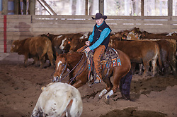 April 29 2017 - Minshall Farm Cutting 1, held at Minshall Farms, Hillsburgh Ontario. The event was put on by the Ontario Cutting Horse Association. Riding in the Non-Pro Class is Scott Reed on LL Crockett Rocket owned by the rider.