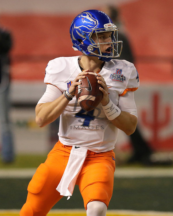 Boise State quarterback Brett Rypien (4) during the Cactus Bowl NCAA college football game against Baylor, Tuesday, Dec. 27, 2016, in Phoenix. (AP Photo/Rick Scuteri)